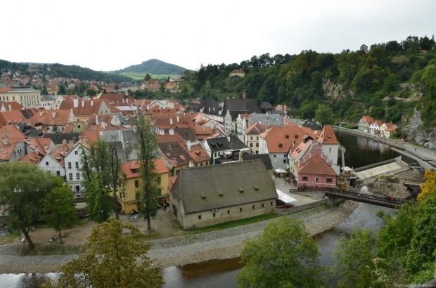 Вид на город с моста в замке
