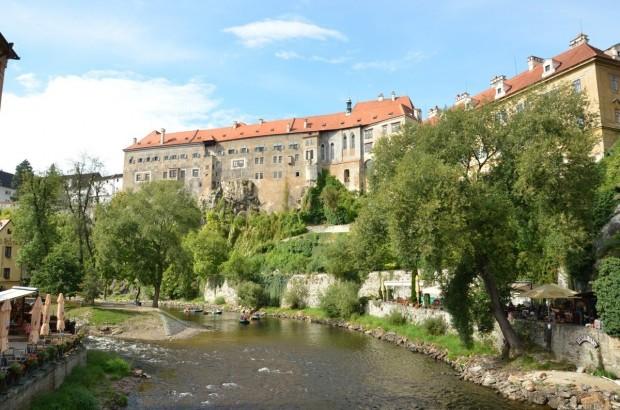 Вид на замок Крумлов снизу
